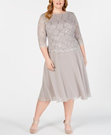 0840dec442271 Alex Evenings Plus Size Sequined Lace A-Line Dress
