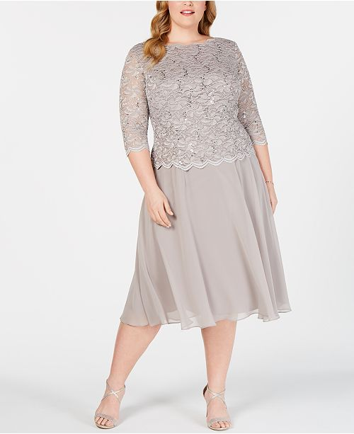 ceca78be292 Alex Evenings Plus Size Sequined Lace A-Line Dress   Reviews ...