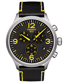 Tissot Men's Swiss Chronograph ChronoXL Classic Tour De France Edition Black Leather Strap Watch 45mm