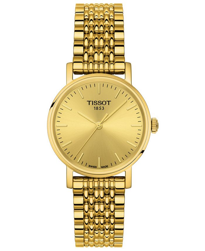 Tissot - xWomen's Swiss T-Classic Everytime Gold-Tone PVD Stainless Steel Bracelet Watch 30mm