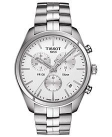 Tissot Men's Swiss Chronograph T-Classic PR100 Stainless Steel Bracelet Watch 41mm