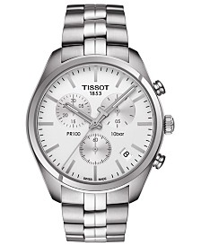 Tissot Men's Swiss Chronograph T-Classic PR100 Stainless Steel Bracelet Watch 41mm