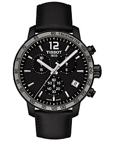 Men's Swiss Chronograph T-Classic Quickster Black Leather Strap Watch 42mm
