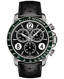 Tissot Men's Swiss Chronograph T-Sport V8 Black Leather Strap Watch 42.5mm