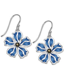 Marcasite & Enamel Flower Drop Earrings in Fine Silver-Plate