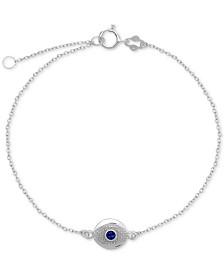 Blue Glass Evil Eye Ankle Bracelet in Sterling Silver