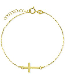 East West Cross Ankle Bracelet in Sterling Silver