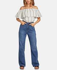 Volcom Juniors' Ruffled Off-The-Shoulder Top