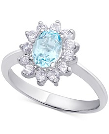 Blue Topaz (1 ct. t.w.) & Cubic Zirconia Ring in Sterling Silver (Also Available in Sapphire & Peridot)