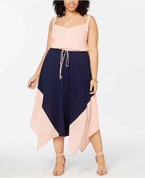 Love Squared Plus Size Colorblocked Handkerchief-Hem Dress
