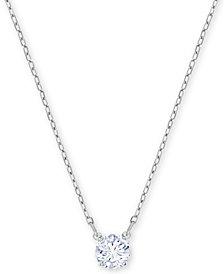 "Swarovski Silver-Tone Crystal Pendant Necklace, 14-4/5"" + 4"" extender"