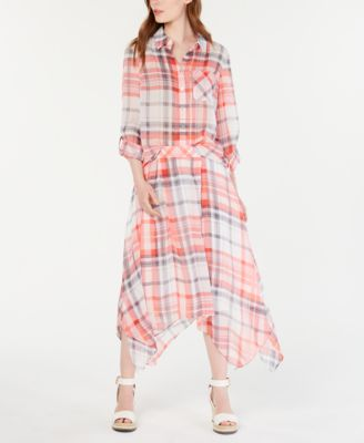 Plaid Roll-Tab Sleeve Top, Created for Macy's