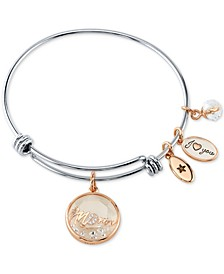 Crystal Mom Shaker Charm Bangle Bracelet in Stainless Steel & Rose Gold-Tone with Silver Plated Charms