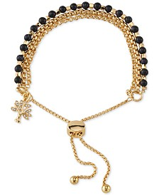 Unwritten Blue Stone Crystal Tree Bolo Bracelet in Gold-Tone Plated Brass
