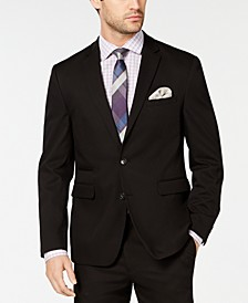 Men's Slim-Fit Stretch Wrinkle-Resistant Black Solid Suit Jacket
