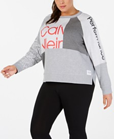 Calvin Klein Performance Plus Size Colorblocked Logo Top