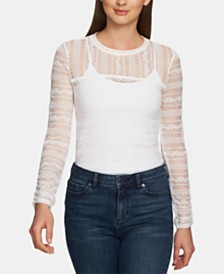 1.STATE Long-Sleeve Lace Top