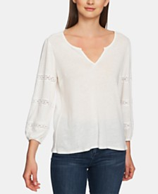 1.STATE Split-Neck Lace-Trimmed Knit Top