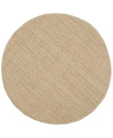 Natural Fiber Natural and Beige 8' x 8' Sisal Weave Round Area Rug