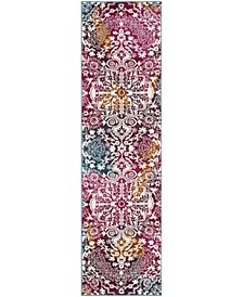 "Watercolor Ivory and Fuchsia 2'2"" x 8' Runner Area Rug"