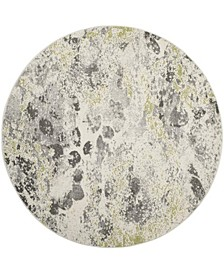 """Watercolor Ivory and Gray 6'7"""" x 6'7"""" Round Area Rug"""