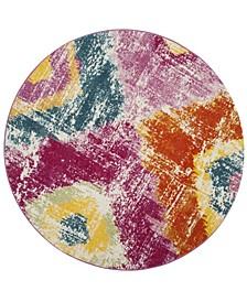 "Watercolor Fuchsia and Orange 6'7"" x 6'7"" Round Area Rug"