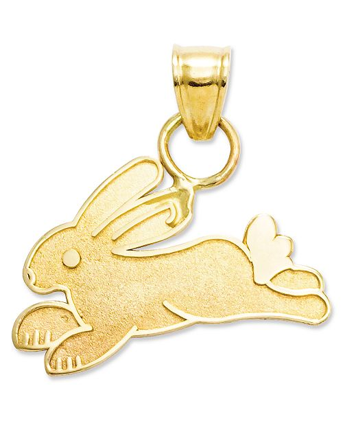 Macy's 14k Gold Charm, Rabbit Charm