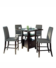CorLiving 5pc Counter Height Storage Dining Set, with Fabric Chairs