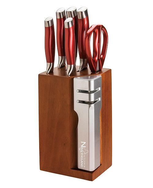New England Cutlery 7 Piece Stainless Steel Cutlery Set with Detachable Knife Sharpener