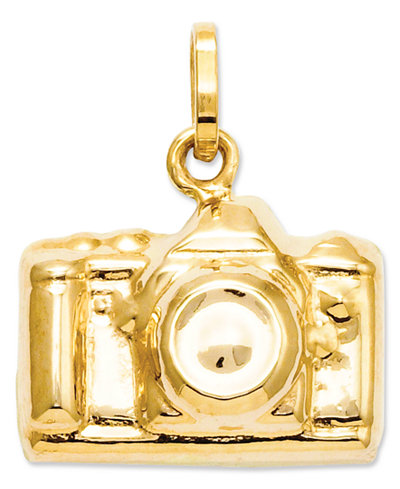 14k Gold Charm, Camera Charm