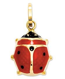 14k Gold Charm, Red Enamel Ladybug Charm