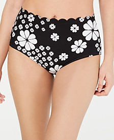 kate spade new york Floral Spade Scalloped High-Waist Bikini Bottoms