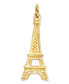 14k Gold Charm, Solid Eiffel Tower Charm