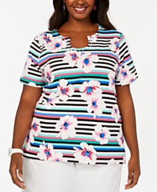Alfred Dunner Plus Size Classic Embellished Printed Knit Top
