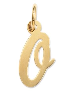 14k Gold Charm, Small Script Initial O Charm