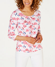Karen Scott Petite Printed 3/4-Sleeve Top, Created for Macy's