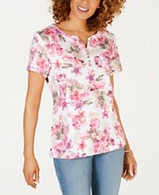 Karen Scott Bristol Printed Split-Neck Top, Created for Macy's