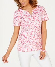 Karen Scott Printed Split-Neck Top, Created for Macy's