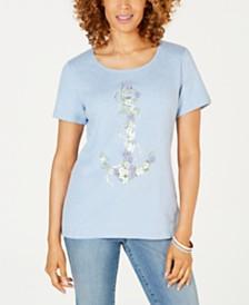 Karen Scott Cotton Anchor-Print Top, Created for Macy's