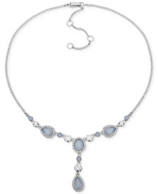 "Crystal & Stone Lariat Necklace, 16"" + 3"" extender"