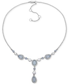 """Givenchy Crystal & Stone Lariat Necklace, 16"""" + 3"""" extender"""