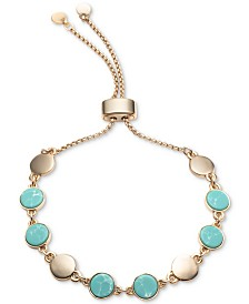 DKNY Gold-Tone & Stone Disc Slider Bracelet, Created for Macy's