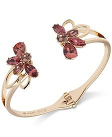 Anne Klein Gold-Tone Floral Crystal Hinge Bracelet