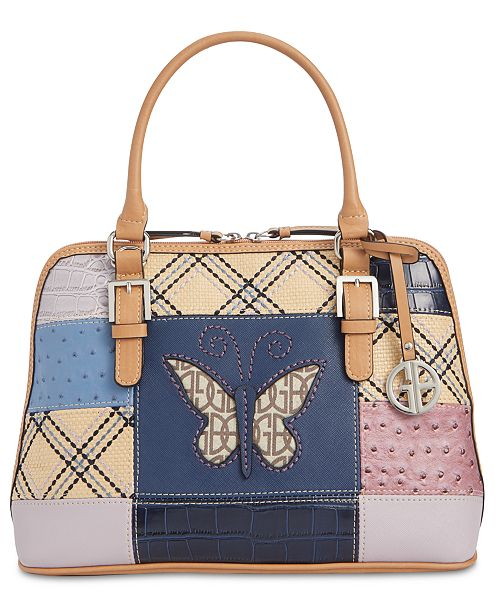 Giani Bernini Butterfly Patchwork Dome Satchel, Created for Macy's