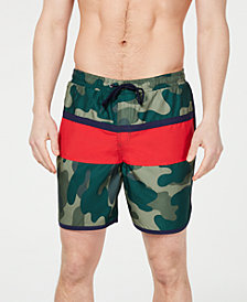 "Club Room Men's Colorblocked Camo 7"" Swim Trunks, Created for Macy's"