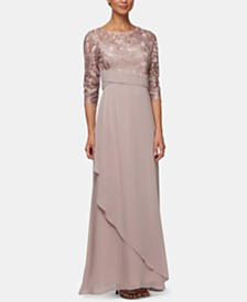 Alex Evenings Petite Lace-Bodice Draped Gown