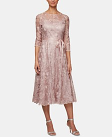 Alex Evenings Embroidered A-Line Dress