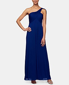 One-Shoulder Empire-Waist Gown