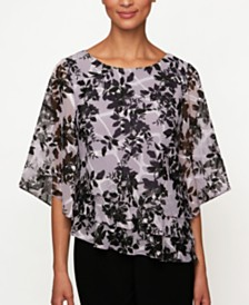 Alex Evenings Petite Printed Tiered Top
