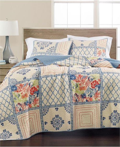 Martha Stewart Collection Seaside Coral Twin Quilt, Created for Macy's
